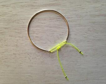 Neon yellow cord & 925 sterling silver Bangle Bracelet
