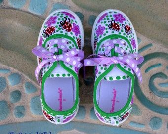 Ladybug Sneakers for Toddlers and Girls/Canvas Kids Ladybug Sneakers/OOAK Ladybug Sneakers/Painted Kids Sneakers/Custom Painted Girl Shoes
