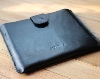 Personalised Wacom sleeve,iPad sleeve, Tablet sleeve, Wacom covers, Black Napa leather