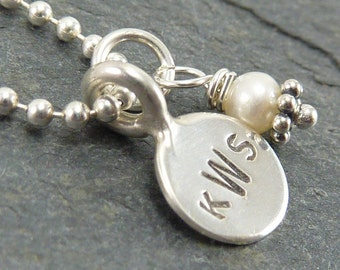 Custom Itty Bitty Monogram Necklace in Hand Stamped Sterling Silver