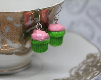 Simple Miniature Watermelon Cupcake Earrings/ Bright Green and Pink/ Fake Dessert Food/ Miniature Polymer Clay