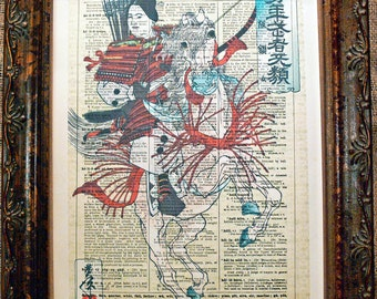 Japanese Woman Samurai Warrior Art Print from 1885 on Encyclopedic Dictionary Book Page from 1896