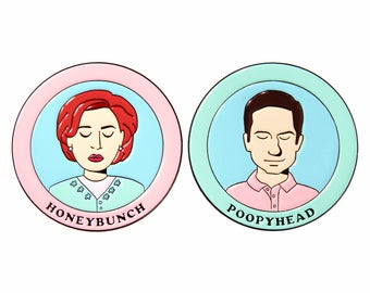 Mulder and Scully / Honeybunch and Poopyhead X-Files Arcadia enamel lapel pin set