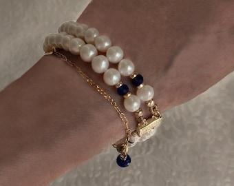 Ivory Freshwater Pearl Bracelet. AAAAA Tanzanite. Double-Strand Classic Pearls. 14k Gold-Filled Filigree Clasp. Elegant Handmade Jewelry