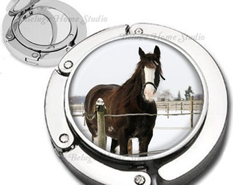 Winter Horse Horse Foldable Purse Hook Bag Hanger With Double Sided Compact Mirror
