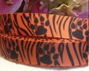 3 yards, 1' grosgrain ribbon Bengals stripes with the paw