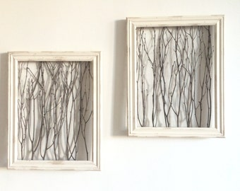 Rustic Framed Branches (1 Medium Frame) - Rustic Wall Decor, Rustic Home Decor, Rustic Frame, Birch Branch Decor, Farmhouse Decor