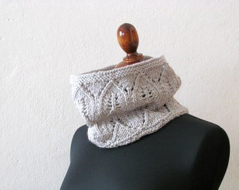Grey Lace Cowl / knitted scarf for a romantic woman / Light grey /  mother day gift alpaca handmade / winter scarf
