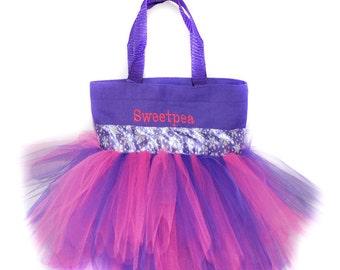 Purple Snowflake Tutu Bag, Tote Bag, Free Monogram Name,  Personalized Girl Dance Bag, Dance Tutu Bag, Frozen Snowflake Tutu Bag