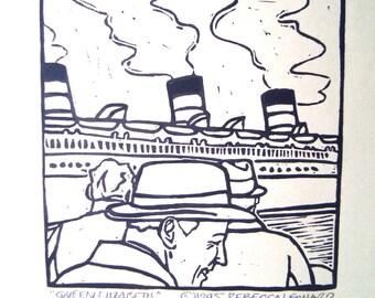 QUEEN ELIZABETH Print - 4.5x4.5. Schwarz. Linoleum Drucke Block Schnitte Hand, die gedruckte Linolschnitt Sun Druck Block handgeschnitzt Drucke handgemachte Geschenke