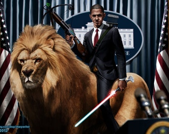 Obama Riding a Lion HQ *various sizes available*