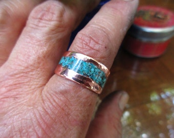 Stream Turquise Copper Cuff Ring. turquise Inlay. Ring only.