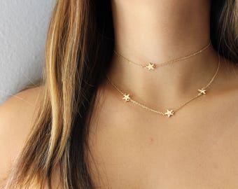 Dainty Star Choker Necklace- Gold Choker/ Small Star Choker/ Delicate Choker/ Thin Choker/ Short Necklace/ Tiny Choker/ Layering Necklace