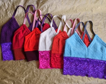 SALE C/D variation bralette upcycled cashmere merino wool crafted from fine sweaters this is upcycling this is slow fashion & the future
