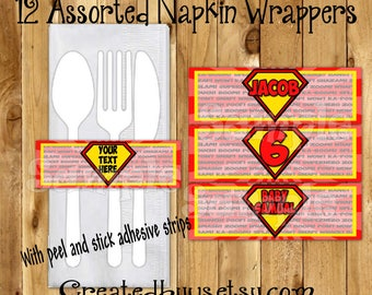 Superman Napkin wraps Superman Birthday Decorations Super man napkin bands Paper napkin ring holder utensil wraps Napkin wrappers 12 printed