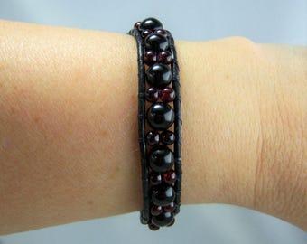 HB132, Wrap Garnet and Leather Bracelet