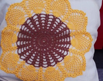 Handmade cushion cover .Case is linen and crochet motif is 100% cotton  .