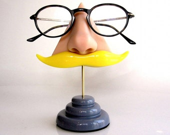 Nose eyeglass stand, Blond mustache, Eyewear display, Father's day gift, quirky unusual funny home decor