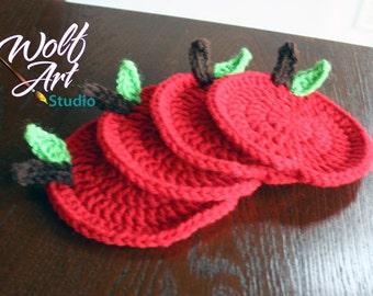 Crochet Apple Coasters.