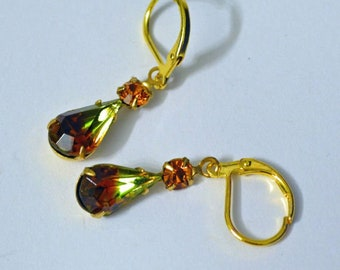 Made With Olivine Topaz Givre West Germany Victorian Style Dangle Lever Earrings Sparkle LARP, Roleplaying,  Gold