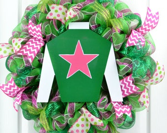 Derby Mesh wreath - Kentucky Derby wreath - Derby door wreath - Mesh Derby wreath - Jockey silk wreath - Horse racing wreath - Derby party