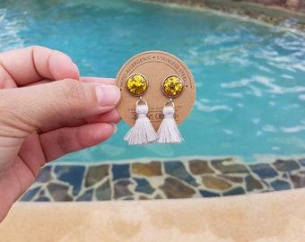 Gold Glitter Button/Grey Tassel Stud Earrings Hypo-Allergenic