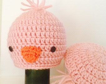 Pink Bird Hat Crochet Newborn Set Photography
