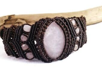 Rose Quartz and Chocolate Micro Macramé Bracelet
