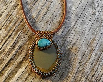 Beaded Cabochon Beaded Bale Necklace - Bead Weaving - Statement Necklace - Jasper & Turquoise Cabochon Pendant - Leather Cord - BOHO