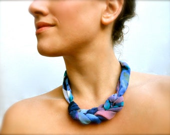 Orchid Swirl Statement Necklace - Fabric Scarf Necklace