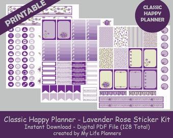 Lavender Rose CLASSIC Happy Planner Printable Stickers, Weekly Kit, Planner Kit, Printable Stickers, CLASSIC Happy Planner, Instant Download