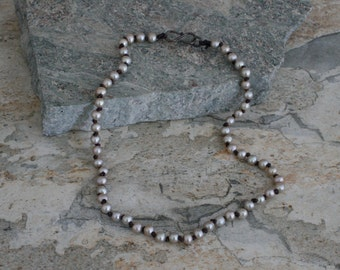 Contemporary Grey Pearl with Knotted Cord Necklace