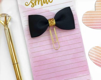 Black and Gold Planner Clip / Planner Bow Clip / Black Bow Paper Clip