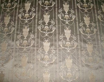 """STUNNING """"POMPEII DREAMS"""" Neoclassical Toile Damask Fabric 10 Yards Taupe"""