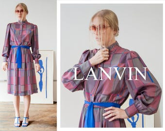 80s LANVIN muted mauve & grey geo print dress with mandarin collar and balloon sleeves   SIZE Medium