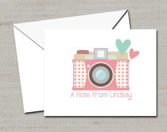 """Personalized Note Cards, Photographer Thank you cards, Photographer's gift, Stationery PRINTABLE DIGITAL FILE  4"""" X 5.5"""""""