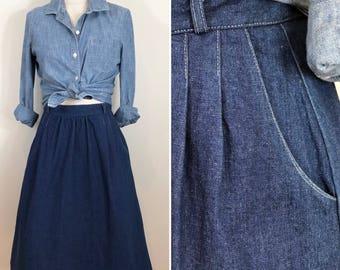 80s Peerless Pleated A-line Denim Skirt, Size SMALL