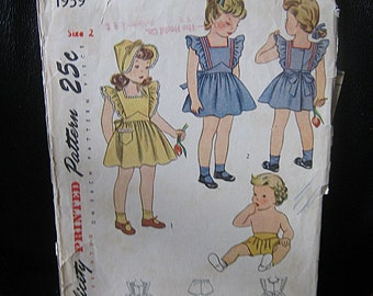 Vintage Girls Pinafore, Hat And Panties Pattern, Size 2  Simplicity Pattern #1959, 1940's Vintage Pattern, Complete Pattern & Instructions,