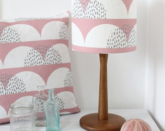 Pale Rose Pink and White Cumulus Cloud Print Fabric Lampshade Scandi Fabric Drum Light Shade