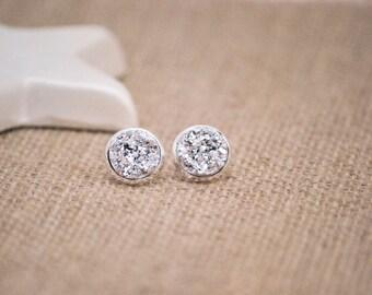 Silver Druzy Earrings, Druzy Stud Earrings, Large Druzy Earrings, Raw Crystal, Faux Druzy Earrings, Silver Stud Earrings, Faux Plugs, Drusy