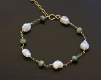 Cat's Eye and Keshi Keishi Pearl Bracelet - 14k Gold Filled Wire Wrapped Green White Creamy Ivory June Birthstone Gemstone