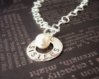 Hand Stamped Sterling silver BRACELET with WASHER and Pearl on TOGGLE clasp