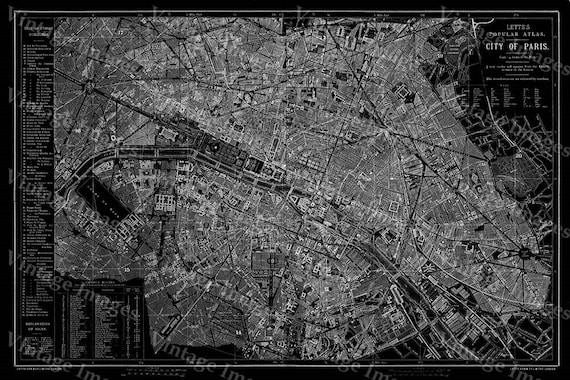 Giant 1883 Historic Paris Map Black and White map Antique Restoration Hardware Style wall Map Fine art Print Poster old map of Paris