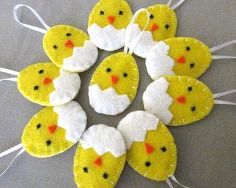10 Bruteier Küken Ornamente, Ostern Küken Dekorationen, süße Osterei Dekor, Frühling Partei begünstigt, gelbe Baby-Vogel Ornies, Tierbabys