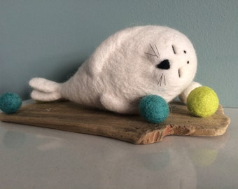 Needle felted seal. Sea creatures.