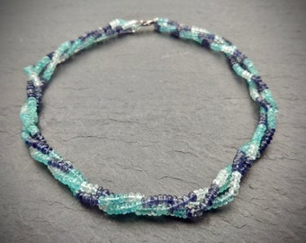 Aquamarine, Apatite and Iolite Necklace, Choker Necklace, Blue Gemstone Necklace, Multistrand Beaded Necklace, Women Gift, Mother's Day Gift