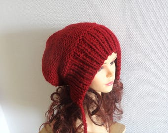 Slouchy Ear Flap Hat cranberry slouchy hat Knitted slouchy beanie Womens red wine hat Split Brim Slouchy Beanie Women Accessories Winter Hat