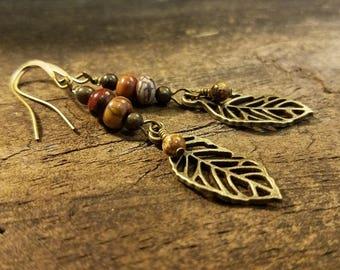 Earthy Earrings, Leaf Earrings, Boho Earrings, Dangle Earrings