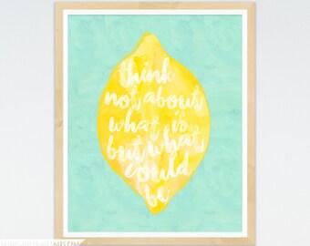 Lemon Print, Lemon Decor, Lemon Art Print, Lemon Wall Art, Lemon Wall Decor, Watercolor Lemon, Yellow & Blue Kitchen Decor, Citrus Fruit Art
