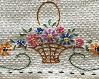 "Vintage Hand Towel Embroidered 16"" x 23"" Tea Towel Hand Towel Kitchen Towel Linen Towel Flower Basket Hand Embroidered"
